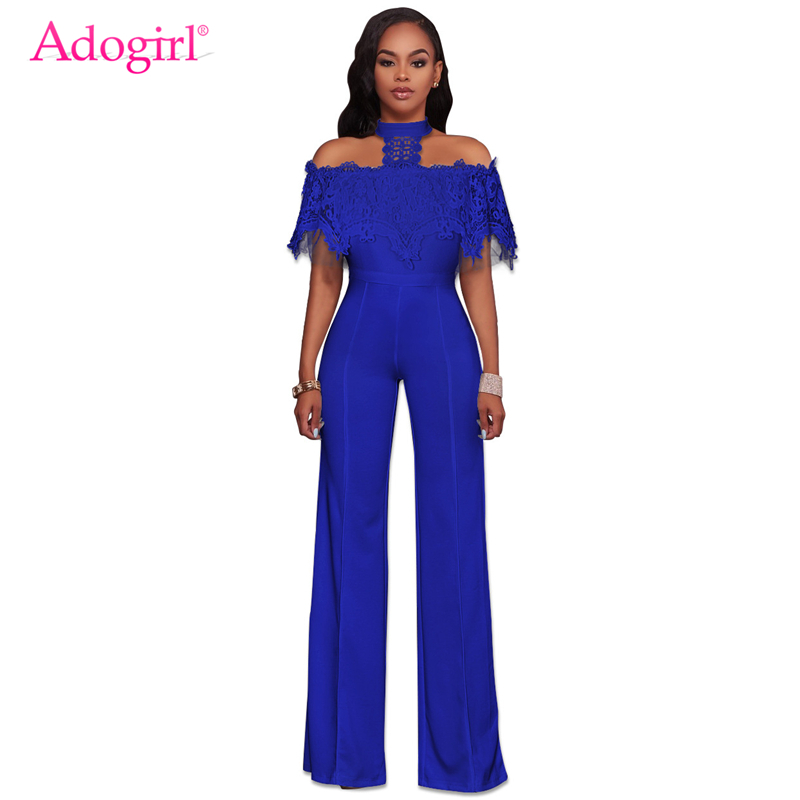 5e78c6a492 Adogirl 2018 New Lace Lacy Off the Shoulder Halter Jumpsuits Fashion ...