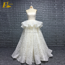 Princess Strapless Lace Fabric Ruffle Wholesale Wedding Dresses Gowns For Fat Woman