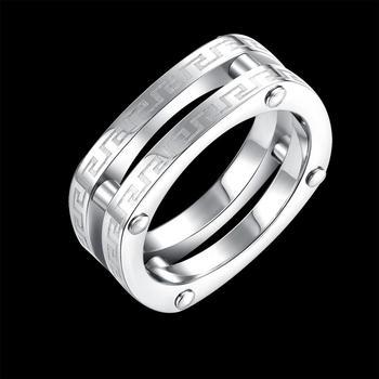 19a260589002 Anillos De Compromiso 18 K chapado en oro blanco platino 316L de acero  inoxidable de juegos