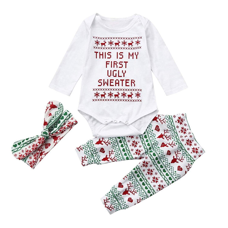 1153a8e80 Get Quotations · Kimanli 3Pcs Infant Girls Boys Baby Romper+Pants+Headband  Christmas Outfit Set