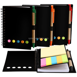 Spiral Notebook Kraft Paper Notepad with Pen in Holder and Sticky Notes, Page Marker Colored Index Tabs Flags
