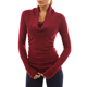 Light weight slim fit tight pullover knit jumper Women's Cowl Neck Ruched Sides Lady Sweater