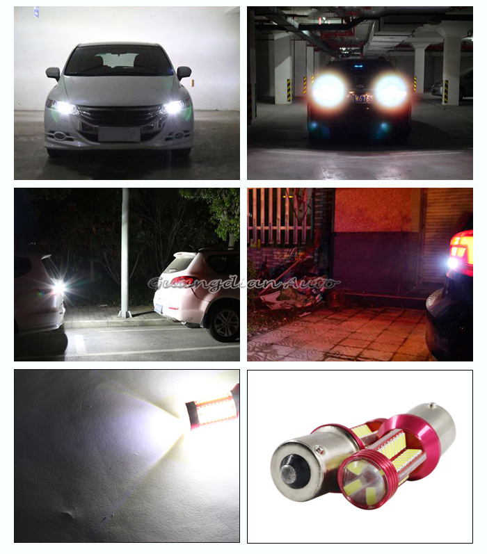 Tcart 12V White Rear Reversing Tail Light Turn Signal Lamp Bulb BAU15S BA15S LED 1156 CANBUS