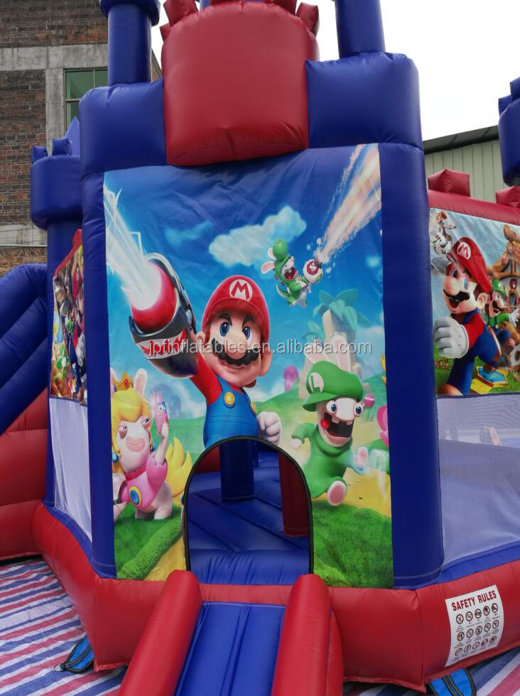2019 PVC 0.55mm tarpaulin fairy tale inflatable bouncy castle house combo with slide for party rent
