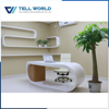 High glossy elegant design white modern round office table for CEO/BOSS/Manager