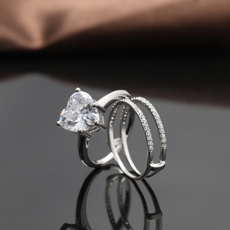 special design 925 sterling silver heart double ring for wedding
