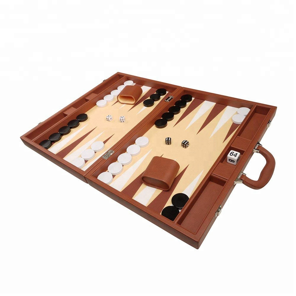 16-inch Hout & PU Leather Folding Backgammon Board Game Box Draagtas Met Grade Vilt Interieur