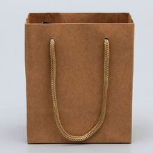 Latest arrival trendy style kraft paper bag with cord handle
