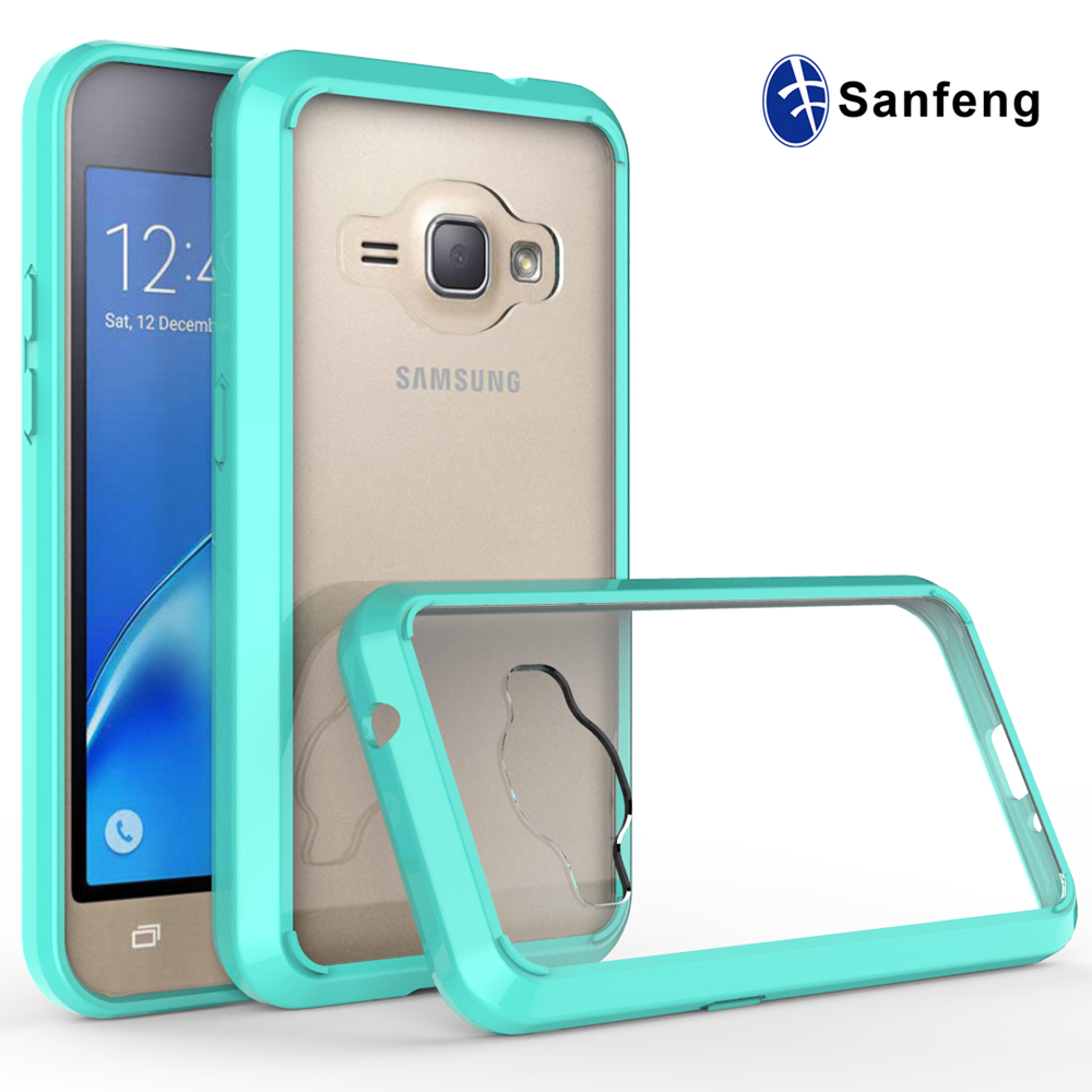 New model double colors crystal clear acrylic tpu transparent case for Samsung galaxy J1(2016)/J120