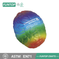 Free sample rainbow colored brain shaped stress ball