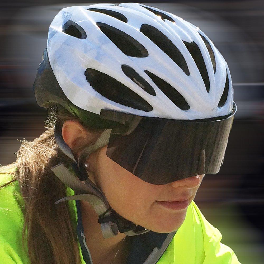1ad7bac1cfc98 Get Quotations · Polar-Optics Flexfit Shield Removable Bicycle Helmet Visor  Polarized 100% UV Blocking (Slate