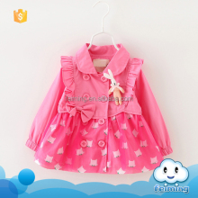 Autumn little girl coat long sleeve lovely rabbit trench coat wholesale children's boutique clothing