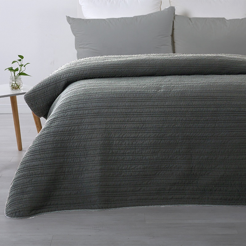 One-stop Sourcing Supplier Home Textile Thick Polyester Cotton Quilted Grey Quilt Cover Set
