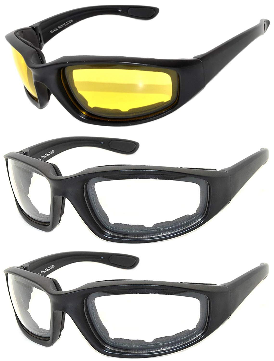b939120fc2 Set of 3 Pairs Motorcycle Padded Foam Glasses Smoke Yellow or Clear Lens Owl