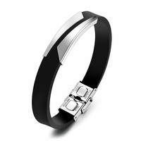 Marlary Jewelry Wholesale Genuine Rubber Silicone And Stainless Steel DIY Bracelet