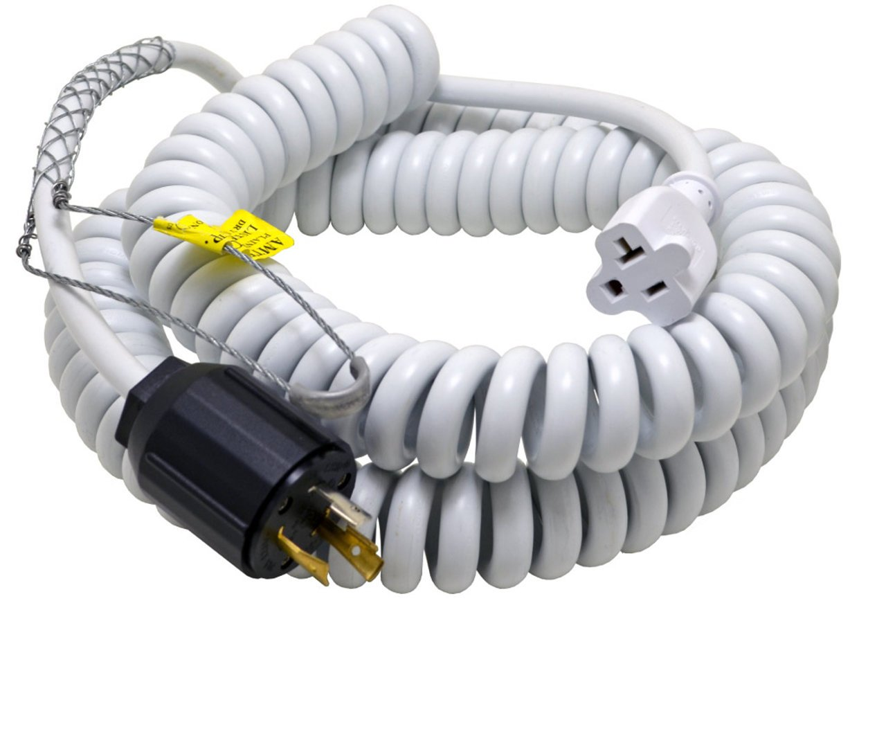 Conntek 70046-L530 Up to 15-Feet Heavy Duty 12/3 Coiled Spring Cord 30-Amp 125V L5-30 Plug with Drop Grip to U.S 15/20-Amp Female Connector