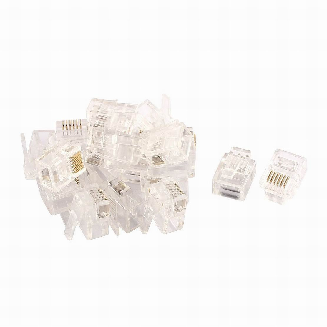 Ugtell 20pcs RJ12 6P6C Modular Network Crimping Ethernet Cord Wire Adapter Connector