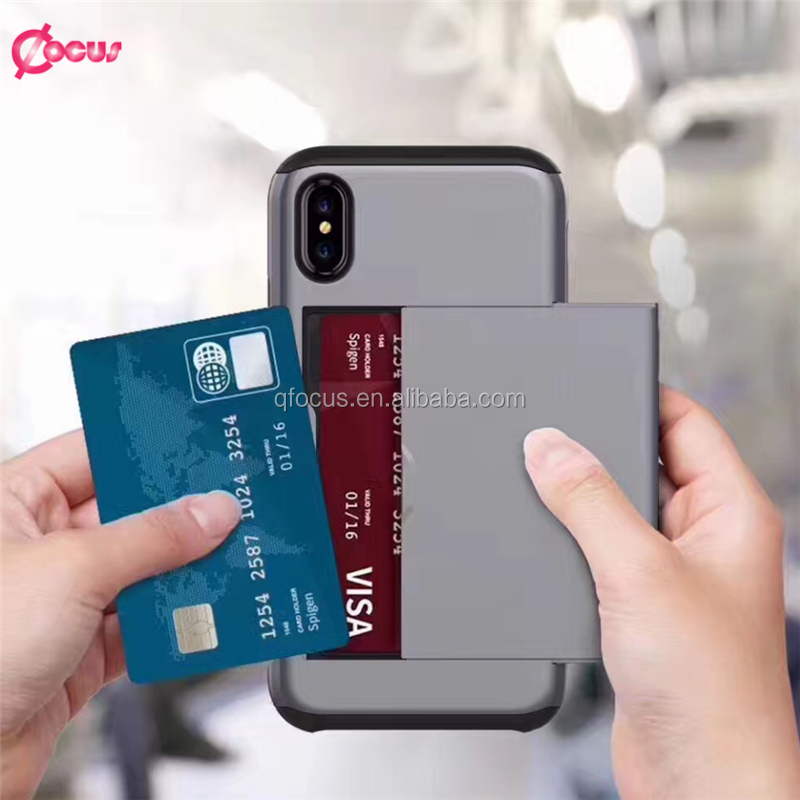 Wholesale custom design credit card tpu pc waterproof heavy duty shockproof case for iphone 8 with card slot