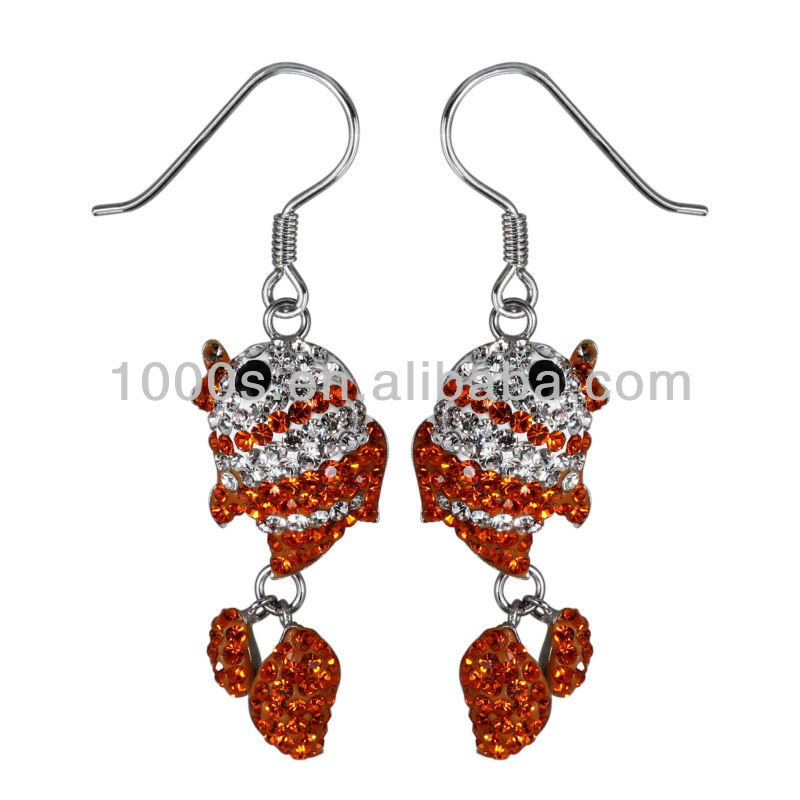 couple fish crystal earring, 925 silver charm