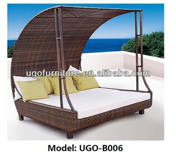 Wunderbar Rattan Flechtmöbel Strand Lounge Bett Mit Baldachin