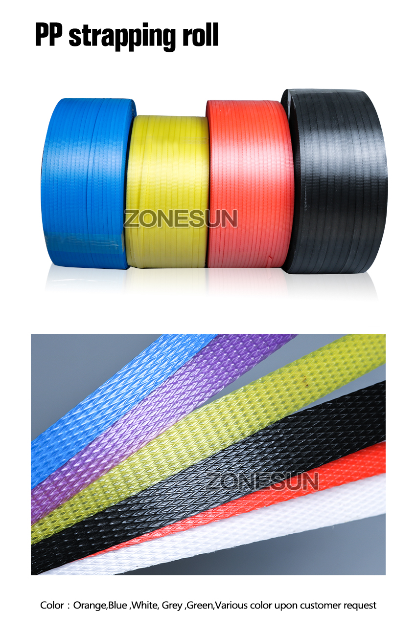 ZONESUN no buckle hot-melt pp strapping strip for machine packing supply