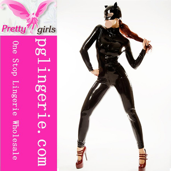 Plus size latex catsuit sexy black hot women pvc leather catwoman sexy catsuit black leather catsuit with hat