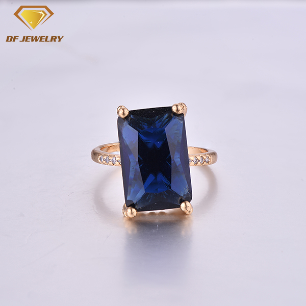 CR1707514 Big Blue Stone Setting Brass Jewelry Simple Gold Ring Designs