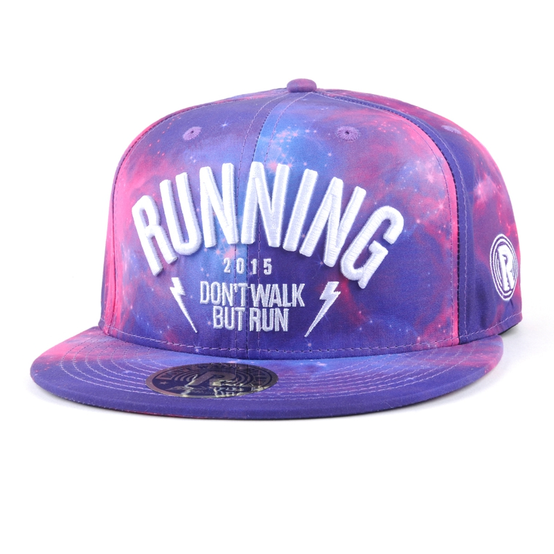 Colorful full printing starry sky snapback cap with you embroidered logo