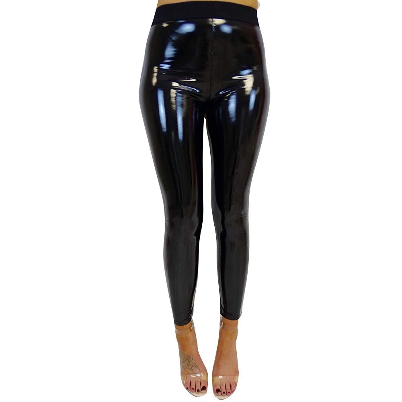 30926ec494dcef Get Quotations · Qisc Women Faux Leather Leggings Wet Look Metallic Waist  Legging Pants Trousers