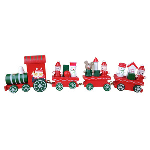 Santa Snowman Red Green Wheel Christmas Train Decoration Handmade Wooden Red Craft Mini Train Kids Toys Gifts Window Xmas Decor