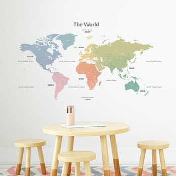 Wall Sticker World Map.World Map Wall Sticker Pvc Diy Removable World Map Wall Decoration