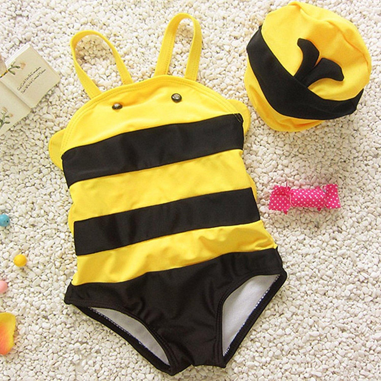 29c8f44b74046 Get Quotations · BERTERI One-Piece Cute Yellow Bee Swimsuits Swimming Cup Bathing  Suits Bikini Swimwear for Baby