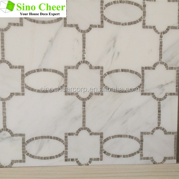 2017High quality unique design waterjet marble mosaic tile
