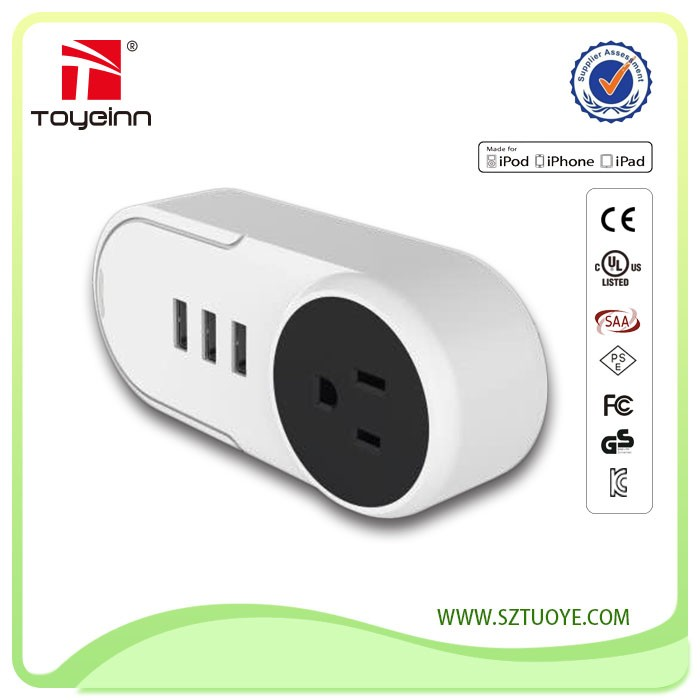 New Design !!! 1 Outlets 2400W & 3 USB Charging Ports 5V 3A 3 USB Charger Port Power Strip