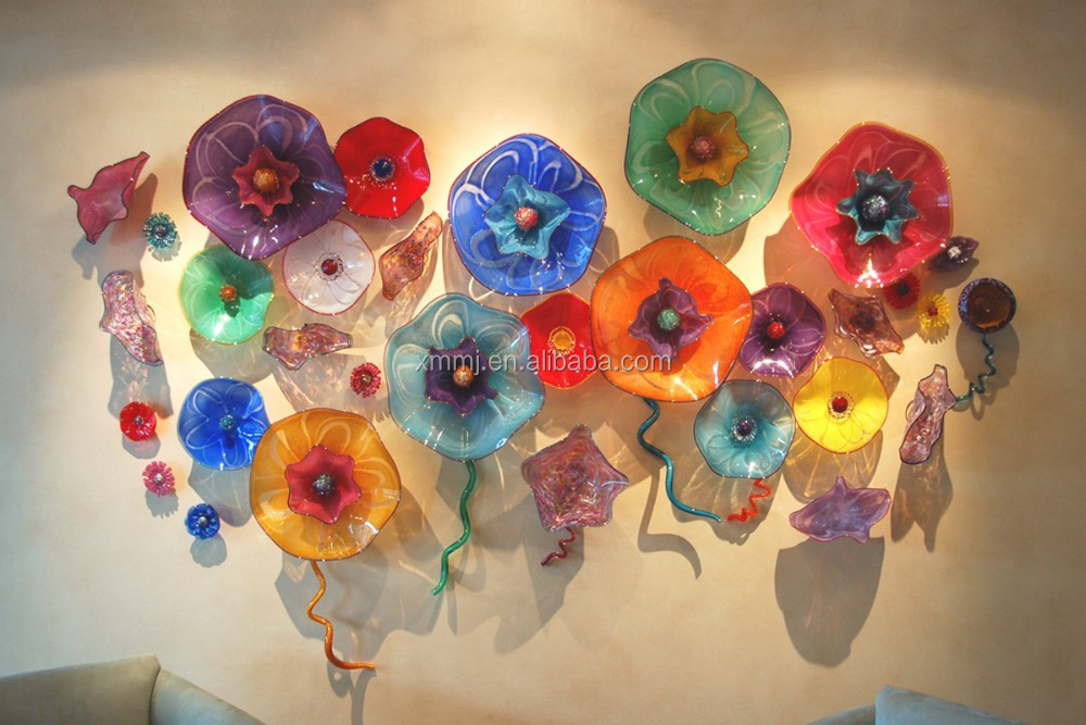 Handmade blown folk art triple layer colorful glass flowers decorative glass wall art
