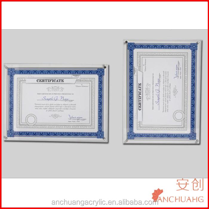 Montado En La Pared De Acrílico Diploma Recipiente Certificado Marco ...