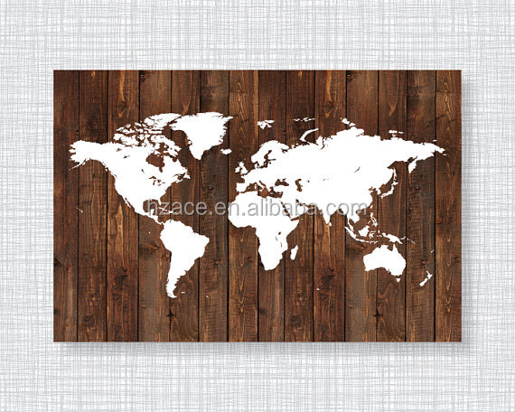 Personalized Wooden Printing Map for Home Decoration Wall World Maps