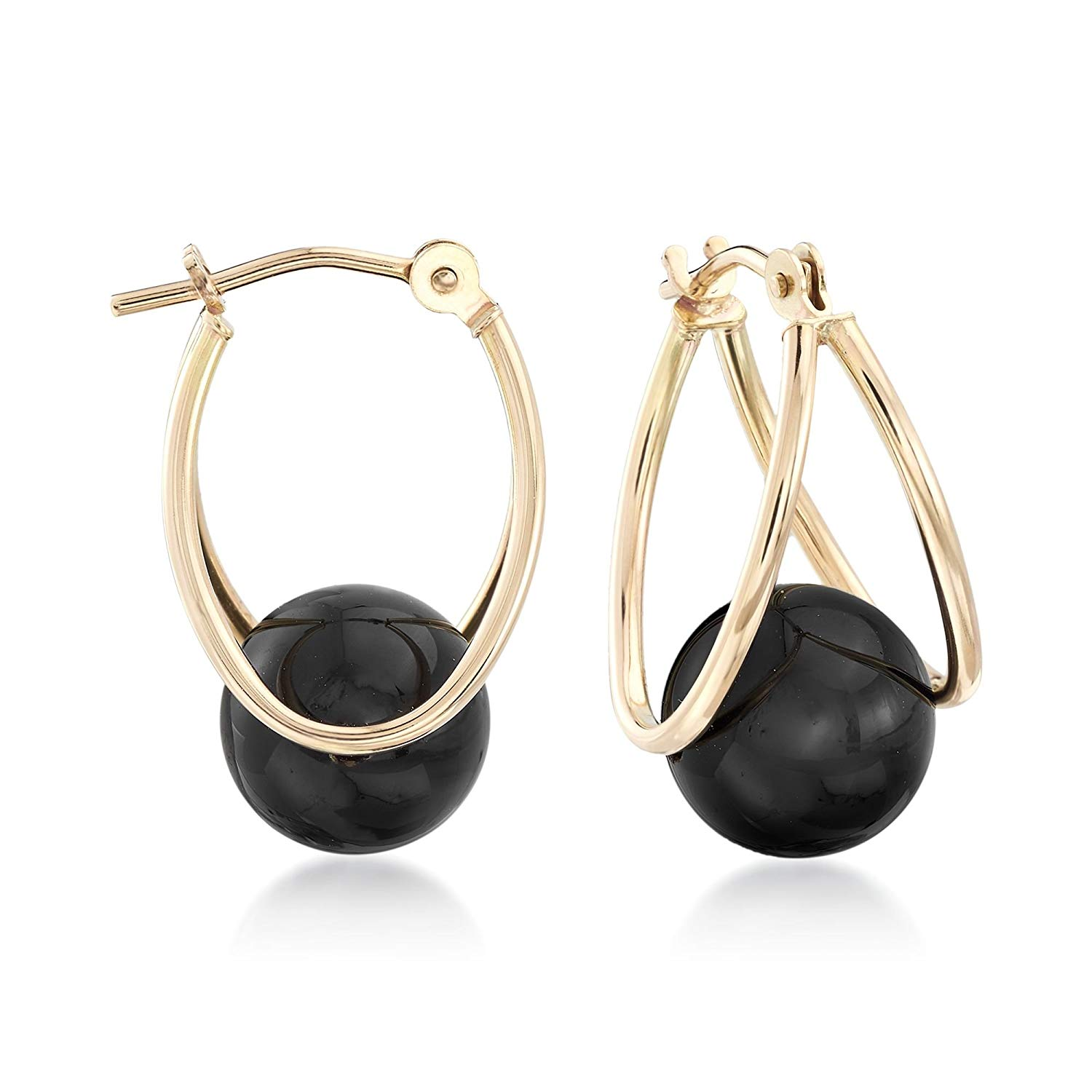 c2258a05b Get Quotations · Ross-Simons Black Onyx Double Hoop Earrings in 14kt Yellow  Gold