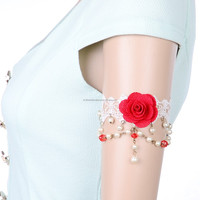 elegant red rose pure white lace bride upper arm bracelet wedding arm bracelet