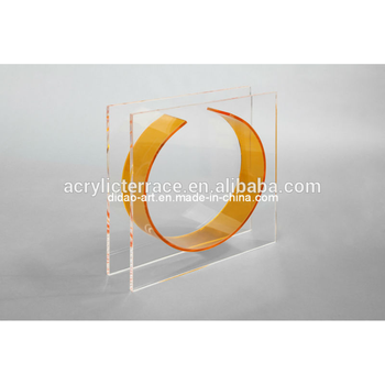 Acrylic Square Vaseclear Frame And Yellow Circle Vaserectangle