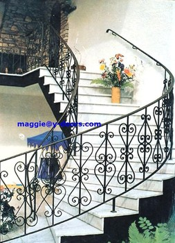 Wrought Iron Arch Stair Railing Design Balcony Metal Size Customized