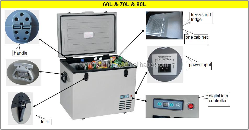 12v Mini Deep Chest Freezer With Covers 45l,55l,60l,70l,80l