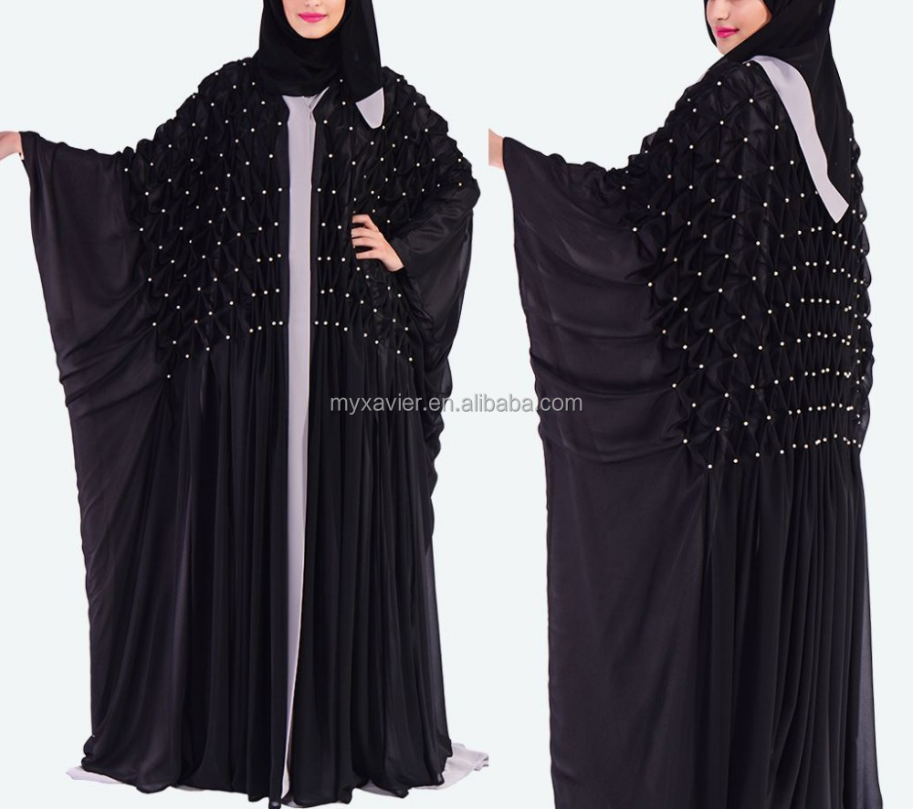 front open butterfly cut abaya black maxi muslin abaya dress pearls on the body dubai abaya