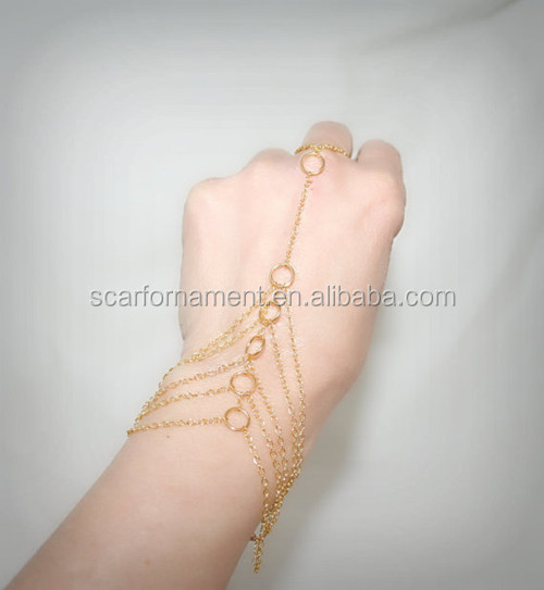 Vintage Fack Gold Ring Chains Connecting Metal Key Ring To Wrist