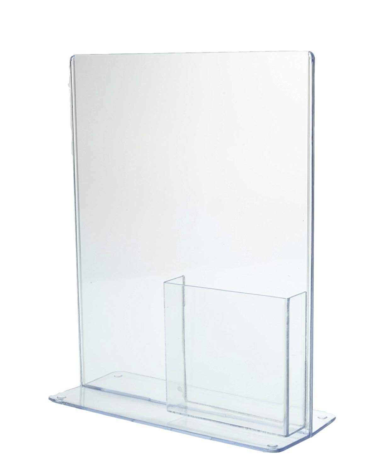 """Marketing Holders Tri-fold Acrylic Sign Holder with Pocket for 4x9 Brochures or Pamphlets T-Style Display Stand Perfect for Shows and Expos (4, 8.5""""w x 11""""h with Tri Fold Box)"""