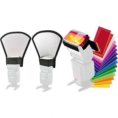 TOAZOE Two-Sides Flash Diffuser Softbox Silver/White Reflector +12pc Strobist Flash Color Card for Canon Nikon Pentax Yongnuo Godox Sony Sigma Nissin Sunpak Speedlite