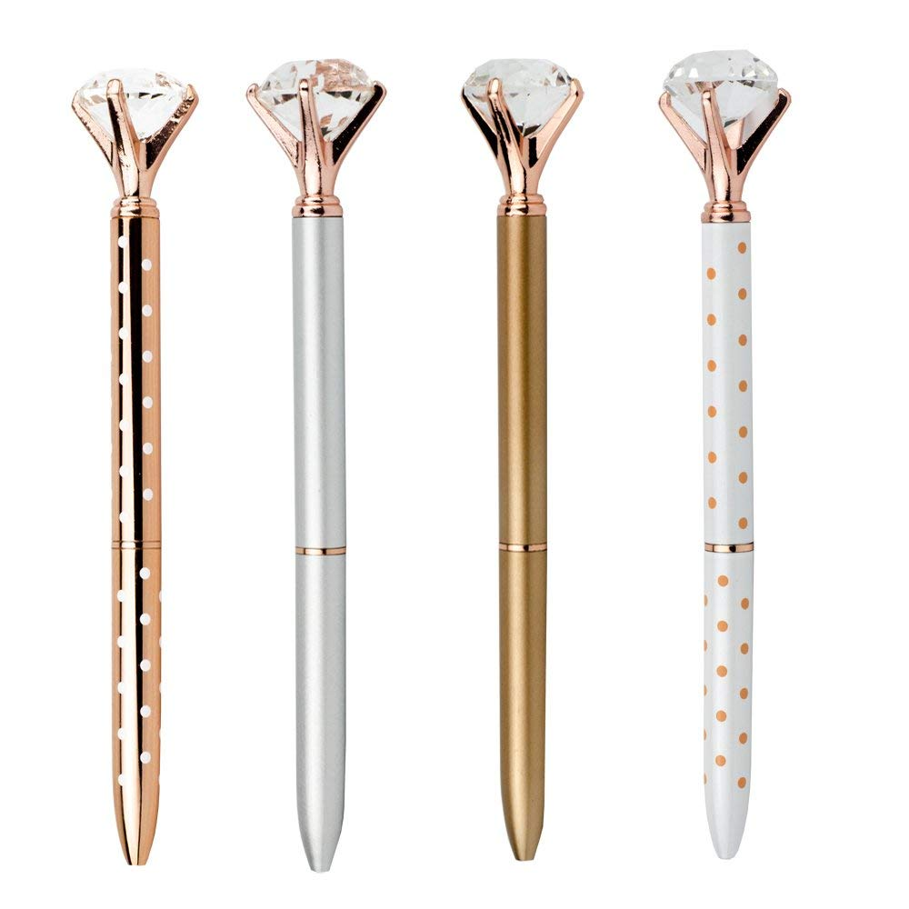 Pshine Rose Gold Crystal Pen with Big Diamon Ball/Crystal/Jewel/Gem-Wedding Pen-Cute Bling Fancy Metal Ballpoint Pens Colored Office/School/Desk Supplies for Women -Black Ink (4pcs-DM)