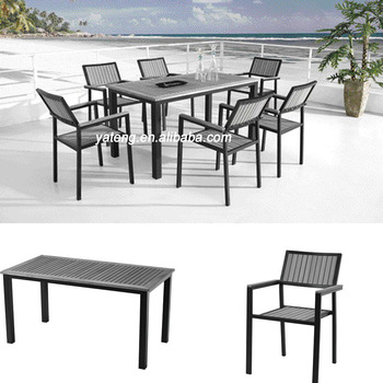 Best Price Grey Color Home Outdoor Deck Furniture Tables Plastic Wooden Dining Table Chair Set