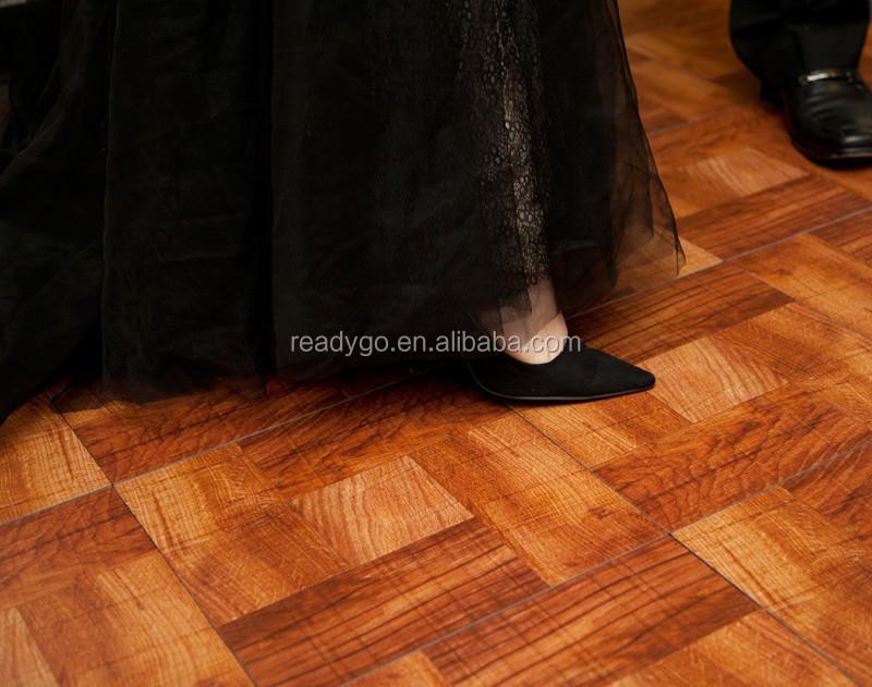 Fácil de madera de PVC portátil de baile, piso de vinilo de pvc de baile. blanco negro de baile puede logotipo impreso