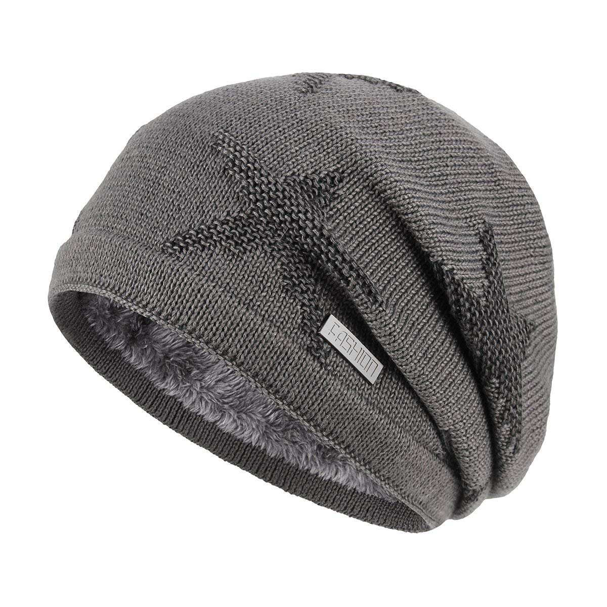 OMECHY Winter Knit Slouchy Beanie Hat Unisex Daily Warm Ski Skull Cap 4 Colors
